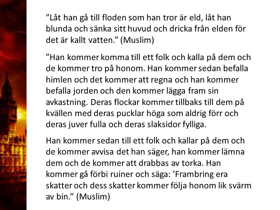 Låt han gå till floden som han tror är eld, låt han blunda och sänka sitt huvud och dricka från elden för det är kallt vatten. (Muslim) Han kommer komma till ett folk och kalla på dem och de kommer tro på honom.