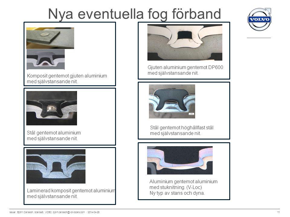 11 Issuer: Björn Carlsson, bcarlss8, VCBC, bjorn.carlsson@volvocars.com / 2014-04-28 Gjuten aluminium gentemot DP600 med självstansande nit. Stål gent