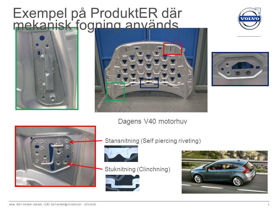 4 Issuer: Björn Carlsson, bcarlss8, VCBC, bjorn.carlsson@volvocars.com / 2014-04-28 Dagens V40 motorhuv Stuknitning (Clinchning) Stansnitning (Self pi