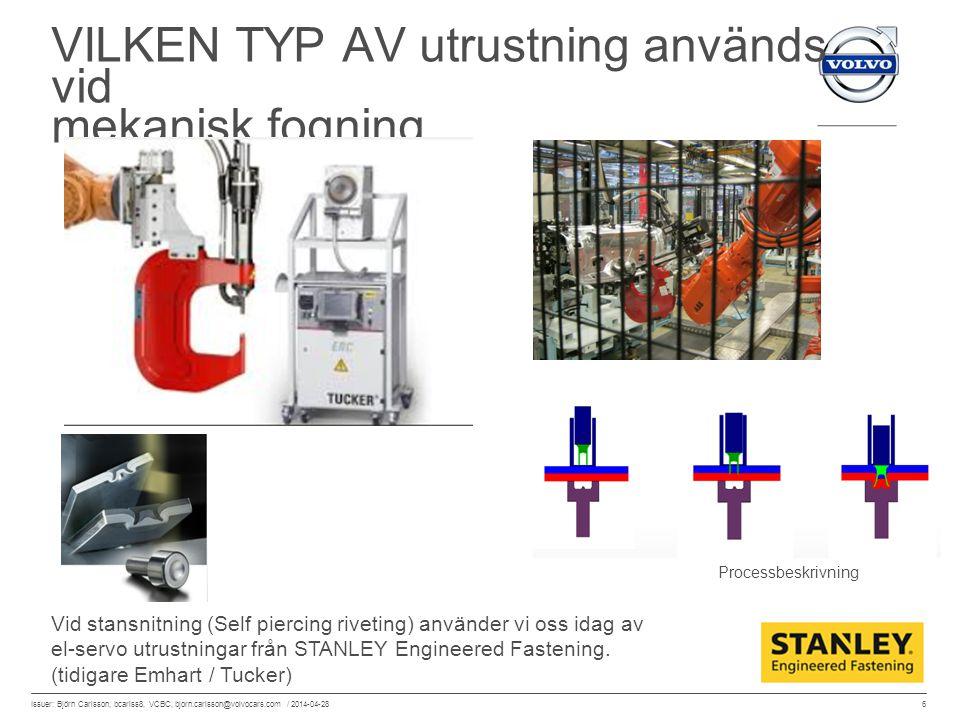 6 Issuer: Björn Carlsson, bcarlss8, VCBC, bjorn.carlsson@volvocars.com / 2014-04-28 VILKEN TYP AV utrustning används vid mekanisk fogning Vid stansnit