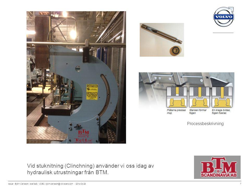 7 Issuer: Björn Carlsson, bcarlss8, VCBC, bjorn.carlsson@volvocars.com / 2014-04-28 Vid stuknitning (Clinchning) använder vi oss idag av hydraulisk ut