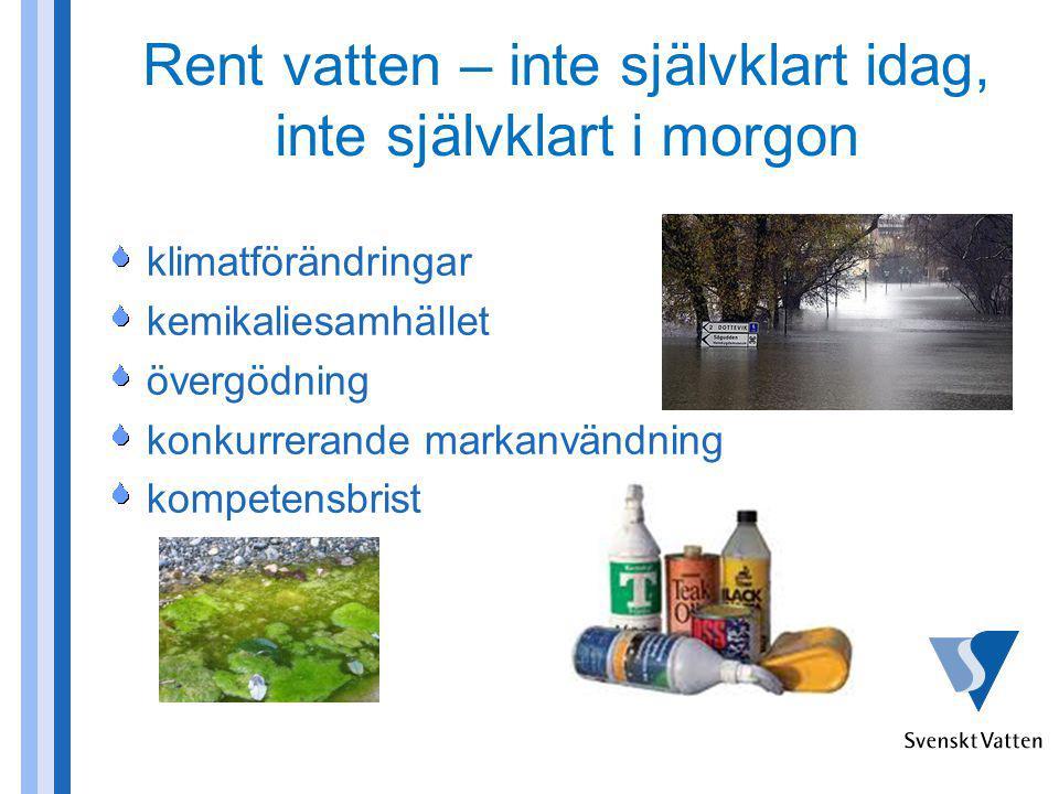 Rent vatten – inte självklart idag, inte självklart i morgon klimatförändringar kemikaliesamhället övergödning konkurrerande markanvändning kompetensb