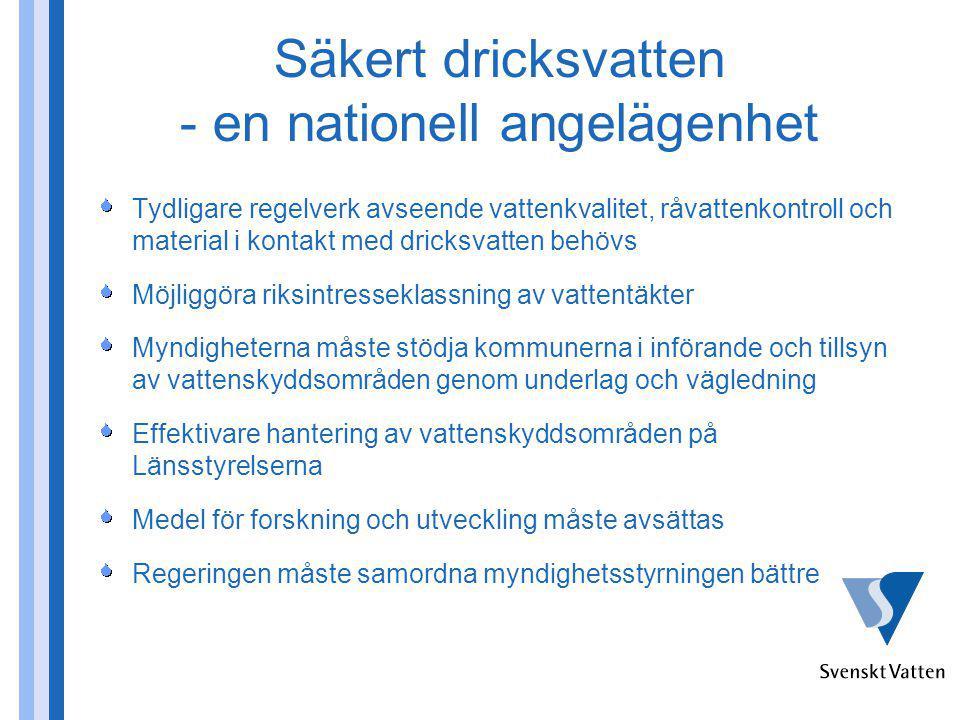 Säkert dricksvatten - en nationell angelägenhet Tydligare regelverk avseende vattenkvalitet, råvattenkontroll och material i kontakt med dricksvatten