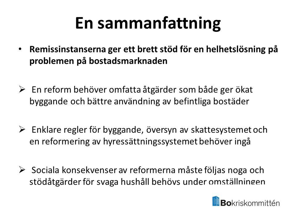 En sammanfattning Remissinstanserna ger ett brett stöd för en helhetslösning på problemen på bostadsmarknaden  En reform behöver omfatta åtgärder som både ger ökat byggande och bättre användning av befintliga bostäder  Enklare regler för byggande, översyn av skattesystemet och en reformering av hyressättningssystemet behöver ingå  Sociala konsekvenser av reformerna måste följas noga och stödåtgärder för svaga hushåll behövs under omställningen
