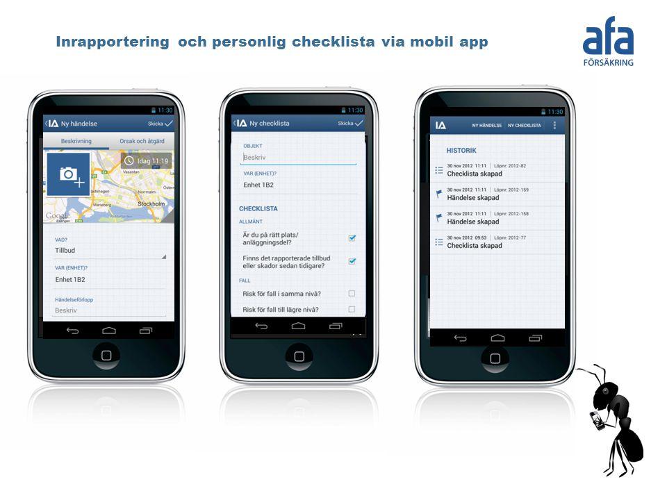 Inrapportering och personlig checklista via mobil app