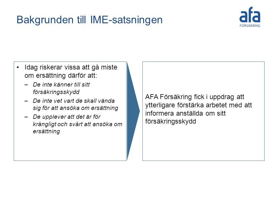 Bakgrunden till IME-satsningen Idag riskerar vissa att gå miste om ersättning därför att: –De inte känner till sitt försäkringsskydd –De inte vet vart