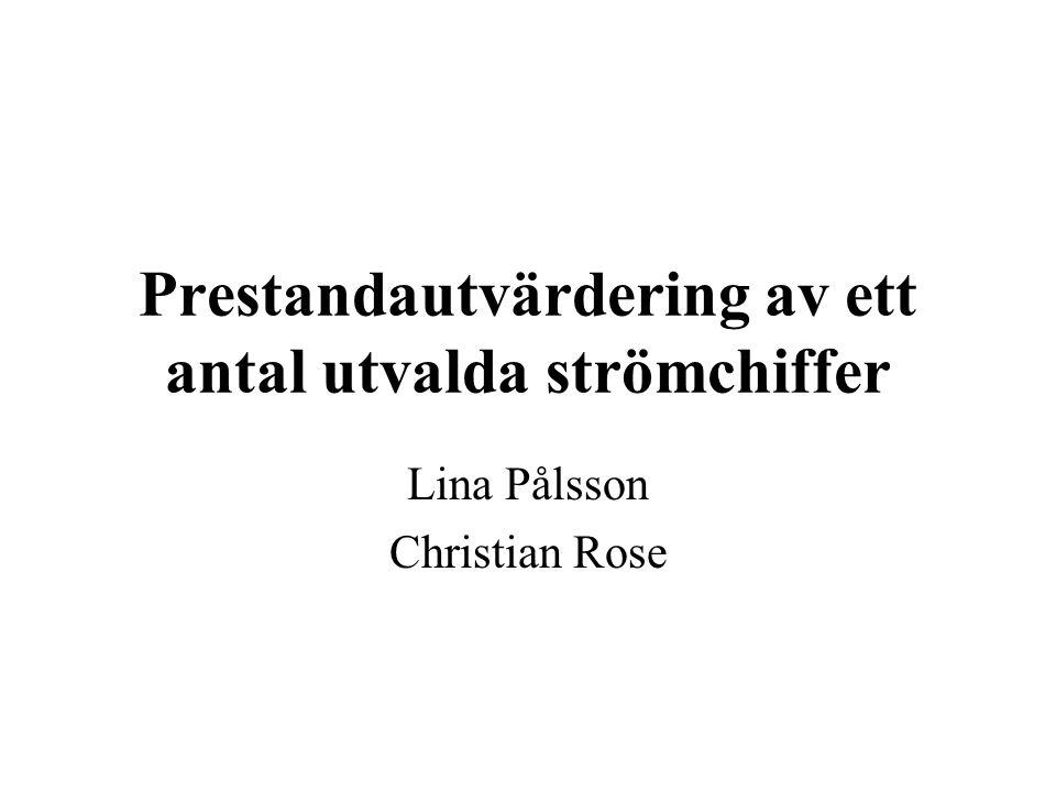 Prestandautvärdering av ett antal utvalda strömchiffer Lina Pålsson Christian Rose