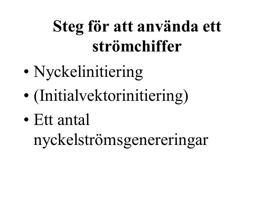 Steg för att använda ett strömchiffer Nyckelinitiering (Initialvektorinitiering) Ett antal nyckelströmsgenereringar