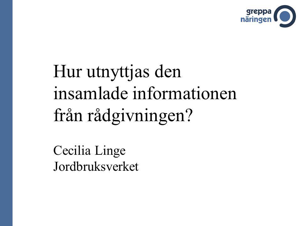 Hur utnyttjas den insamlade informationen från rådgivningen Cecilia Linge Jordbruksverket