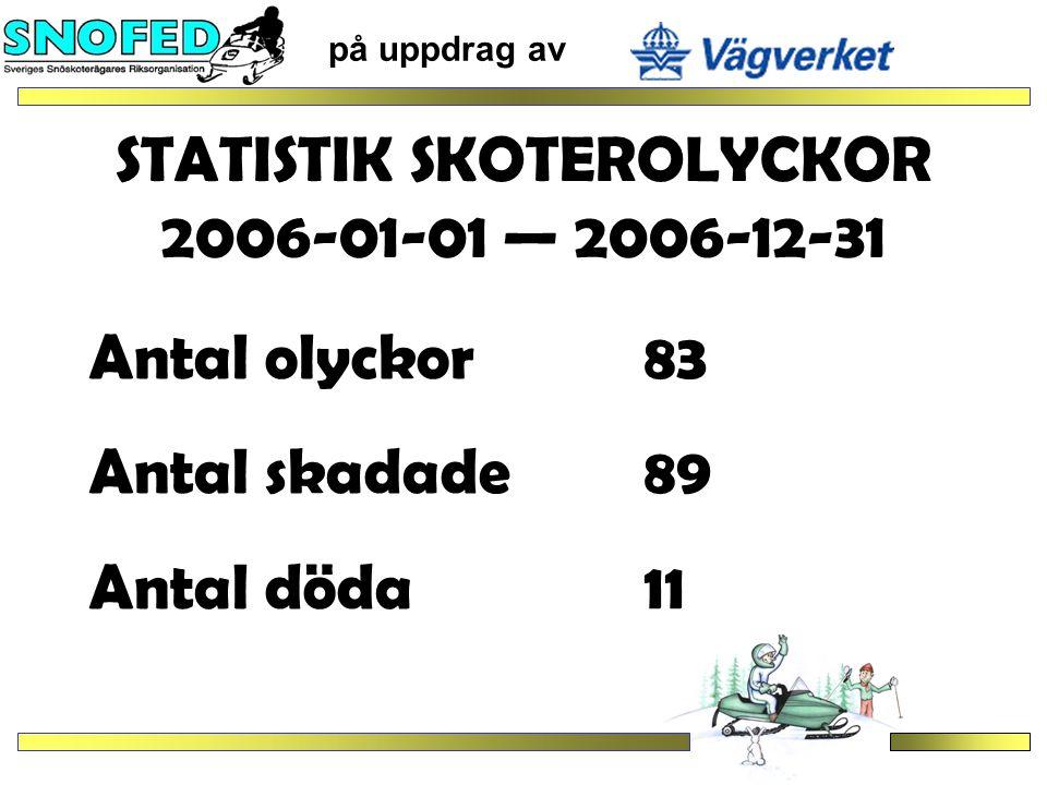 STATISTIK SKOTEROLYCKOR 2006-01-01 — 2006-12-31 på uppdrag av Olyckstidpunkt Dag skadade63döda 7 Kväll skadade 12döda 1 Natt skadade 11döda 3