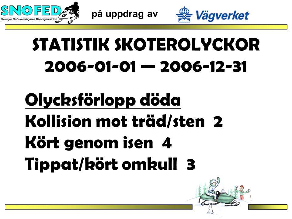 STATISTIK SKOTEROLYCKOR 2006-01-01 — 2006-12-31 på uppdrag av Olycksförlopp döda Kollision mot träd/sten 2 Kört genom isen 4 Tippat/kört omkull 3