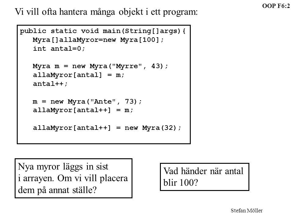 OOP F6:2 Stefan Möller public static void main(String[]args){ Myra[]allaMyror=new Myra[100]; int antal=0; Myra m = new Myra( Myrre , 43); allaMyror[antal] = m; antal++; m = new Myra( Ante , 73); allaMyror[antal++] = m; allaMyror[antal++] = new Myra(32); Vi vill ofta hantera många objekt i ett program: Nya myror läggs in sist i arrayen.