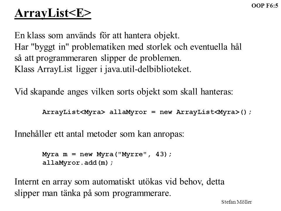 OOP F6:5 Stefan Möller ArrayList En klass som används för att hantera objekt.
