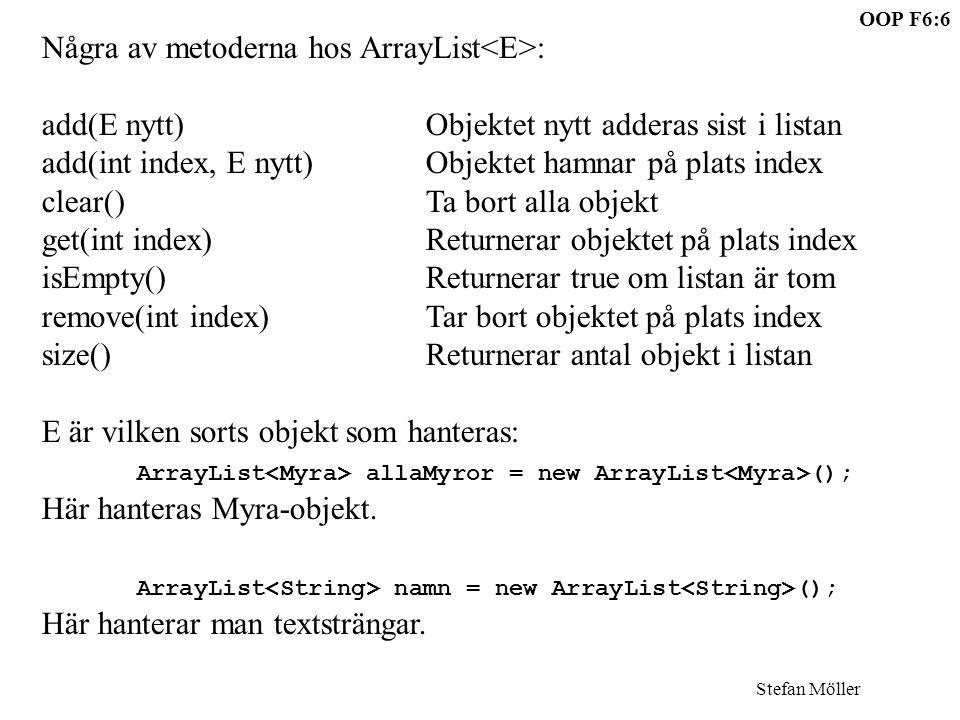 OOP F6:6 Stefan Möller Några av metoderna hos ArrayList : add(E nytt)Objektet nytt adderas sist i listan add(int index, E nytt)Objektet hamnar på plats index clear()Ta bort alla objekt get(int index)Returnerar objektet på plats index isEmpty()Returnerar true om listan är tom remove(int index)Tar bort objektet på plats index size()Returnerar antal objekt i listan E är vilken sorts objekt som hanteras: ArrayList allaMyror = new ArrayList (); Här hanteras Myra-objekt.