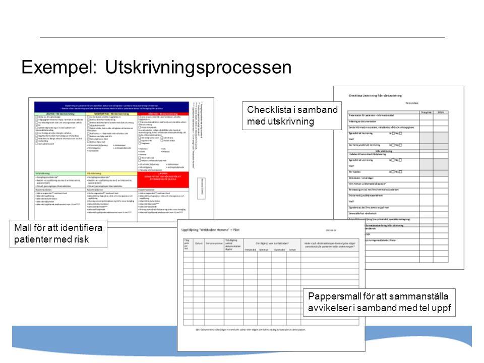 Exempel: Utskrivningsprocessen Mall för att identifiera patienter med risk Checklista i samband med utskrivning Pappersmall för att sammanställa avvikelser i samband med tel uppf