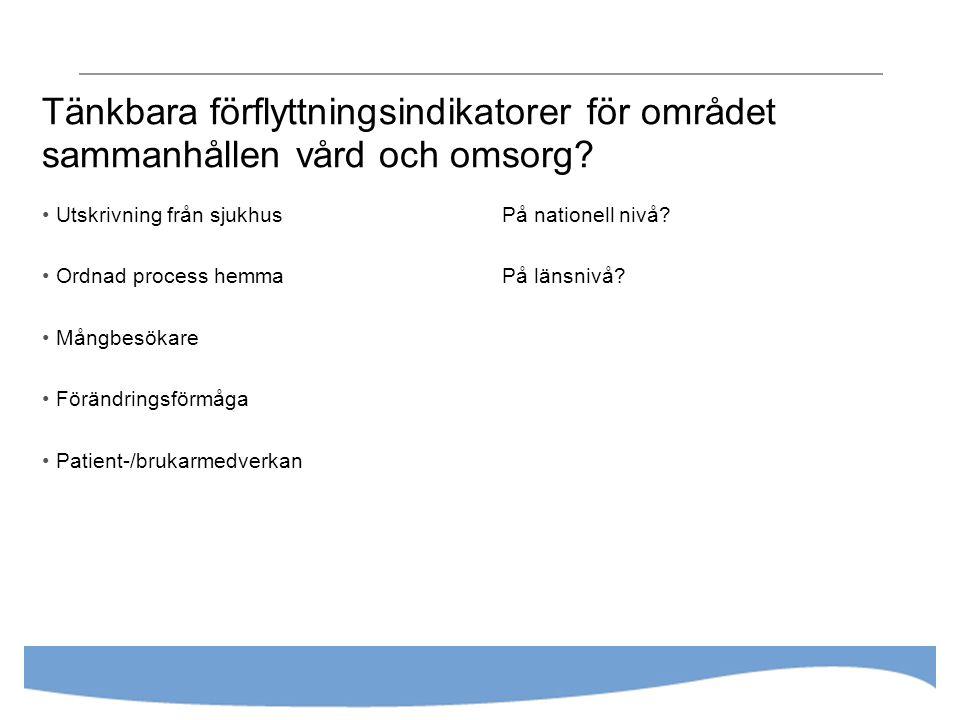 Tänkbara förflyttningsindikatorer för området sammanhållen vård och omsorg? Utskrivning från sjukhus Ordnad process hemma Mångbesökare Förändringsförm