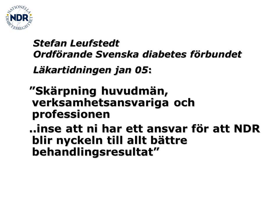 Stefan Leufstedt Ordförande Svenska diabetes förbundet Läkartidningen jan 05: Skärpning huvudmän, verksamhetsansvariga och professionen Skärpning huvudmän, verksamhetsansvariga och professionen..inse att ni har ett ansvar för att NDR blir nyckeln till allt bättre behandlingsresultat ..inse att ni har ett ansvar för att NDR blir nyckeln till allt bättre behandlingsresultat