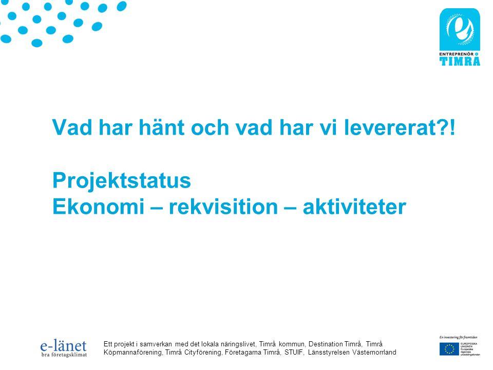 Ett projekt i samverkan med det lokala näringslivet, Timrå kommun, Destination Timrå, Timrå Köpmannaförening, Timrå Cityförening, Företagarna Timrå, STUIF, Länsstyrelsen Västernorrland Vad har hänt och vad har vi levererat .