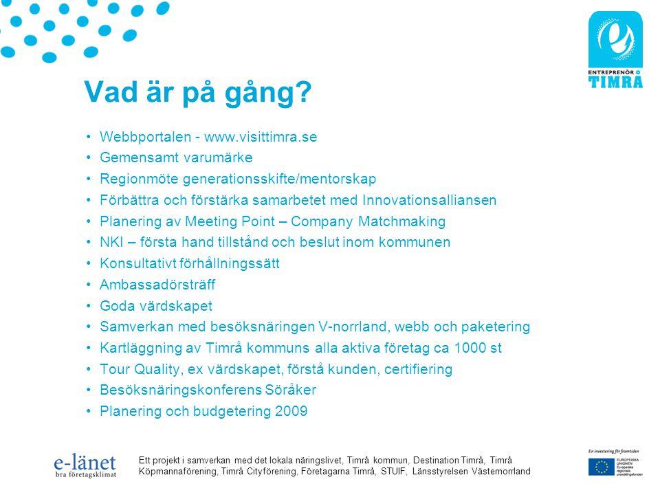 Ett projekt i samverkan med det lokala näringslivet, Timrå kommun, Destination Timrå, Timrå Köpmannaförening, Timrå Cityförening, Företagarna Timrå, STUIF, Länsstyrelsen Västernorrland Vad är på gång.