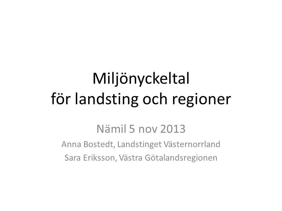 Miljönyckeltal för landsting och regioner Nämil 5 nov 2013 Anna Bostedt, Landstinget Västernorrland Sara Eriksson, Västra Götalandsregionen