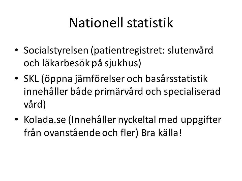 Nationell statistik Socialstyrelsen (patientregistret: slutenvård och läkarbesök på sjukhus) SKL (öppna jämförelser och basårsstatistik innehåller både primärvård och specialiserad vård) Kolada.se (Innehåller nyckeltal med uppgifter från ovanstående och fler) Bra källa!