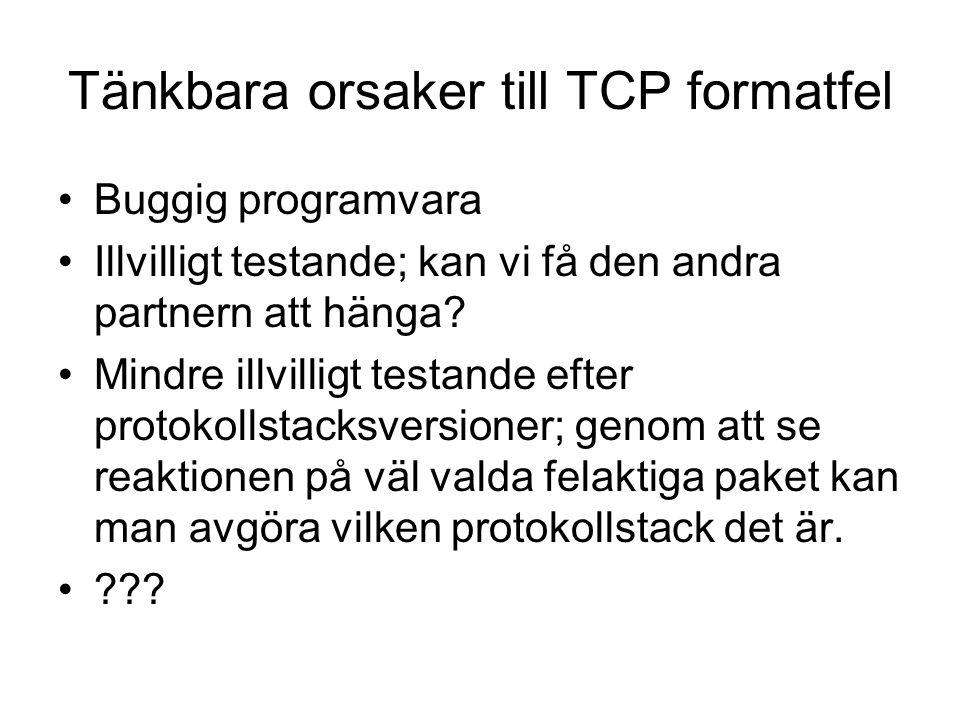 Tänkbara orsaker till TCP formatfel Buggig programvara Illvilligt testande; kan vi få den andra partnern att hänga.