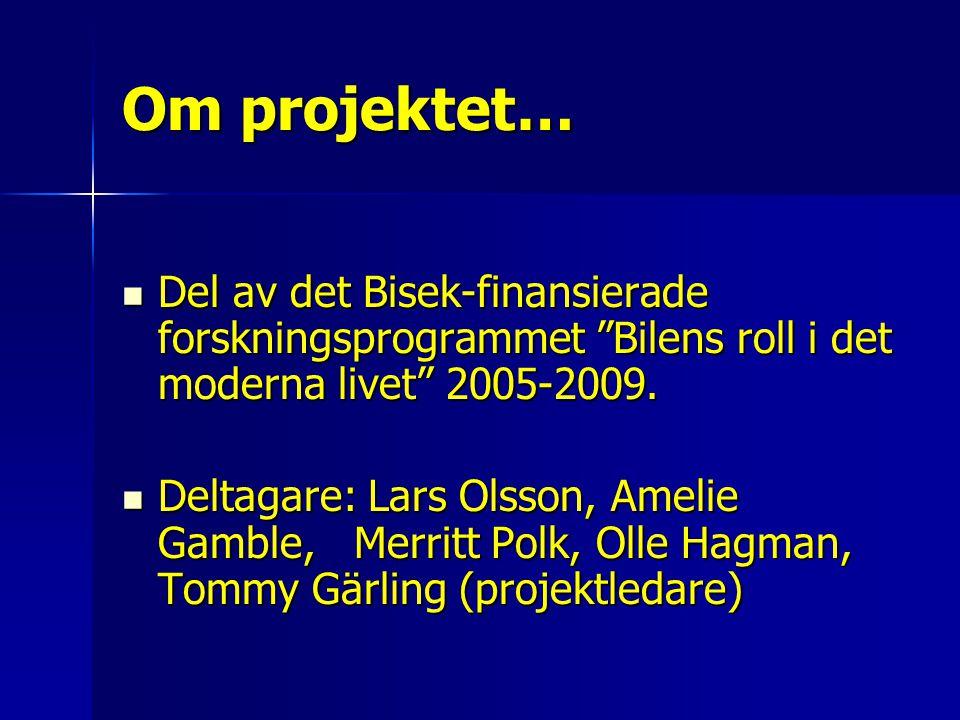 Om projektet… Del av det Bisek-finansierade forskningsprogrammet Bilens roll i det moderna livet 2005-2009.