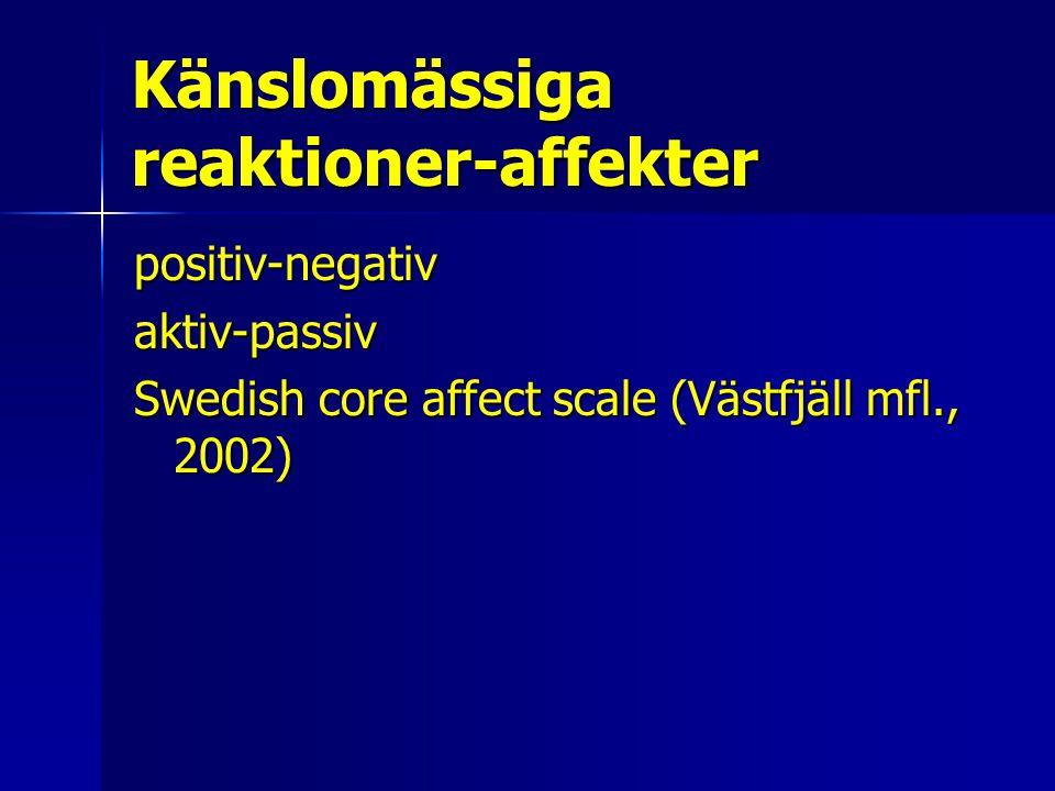 Känslomässiga reaktioner-affekter positiv-negativaktiv-passiv Swedish core affect scale (Västfjäll mfl., 2002)