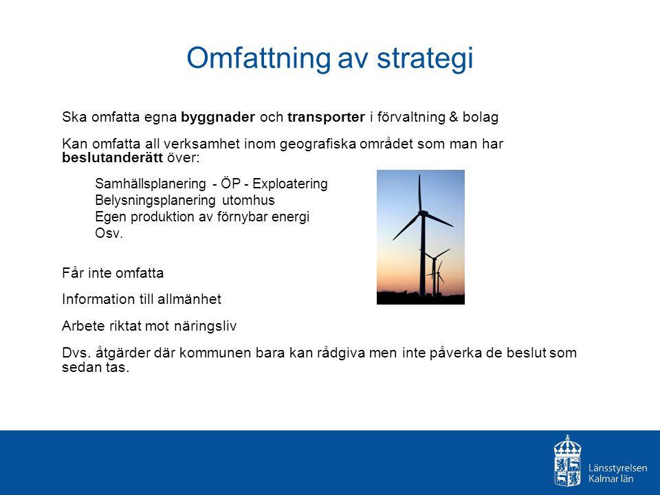 Omfattning av strategi Ska omfatta egna byggnader och transporter i förvaltning & bolag Kan omfatta all verksamhet inom geografiska området som man har beslutanderätt över: Samhällsplanering - ÖP - Exploatering Belysningsplanering utomhus Egen produktion av förnybar energi Osv.