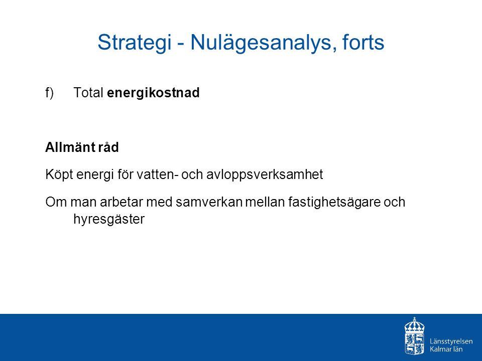 Strategi - Nulägesanalys, forts f) Total energikostnad Allmänt råd Köpt energi för vatten- och avloppsverksamhet Om man arbetar med samverkan mellan fastighetsägare och hyresgäster