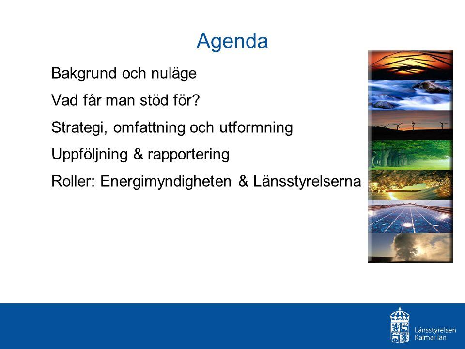 Agenda Bakgrund och nuläge Vad får man stöd för? Strategi, omfattning och utformning Uppföljning & rapportering Roller: Energimyndigheten & Länsstyrel