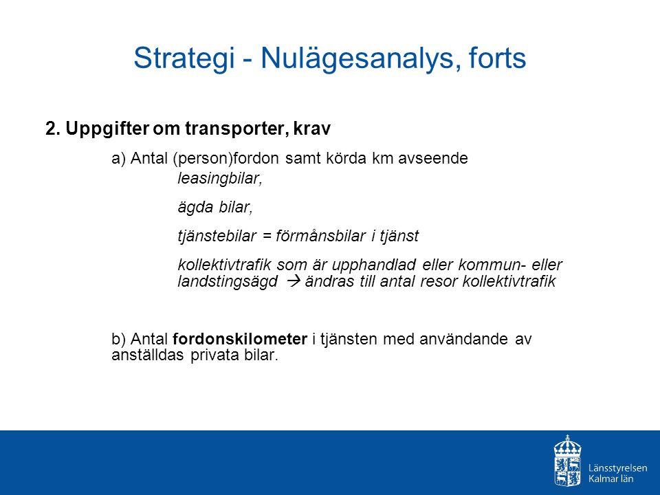 Strategi - Nulägesanalys, forts 2. Uppgifter om transporter, krav a) Antal (person)fordon samt körda km avseende leasingbilar, ägda bilar, tjänstebila