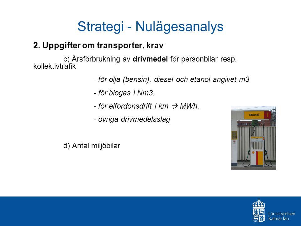 Strategi - Nulägesanalys 2. Uppgifter om transporter, krav c) Årsförbrukning av drivmedel för personbilar resp. kollektivtrafik - för olja (bensin), d