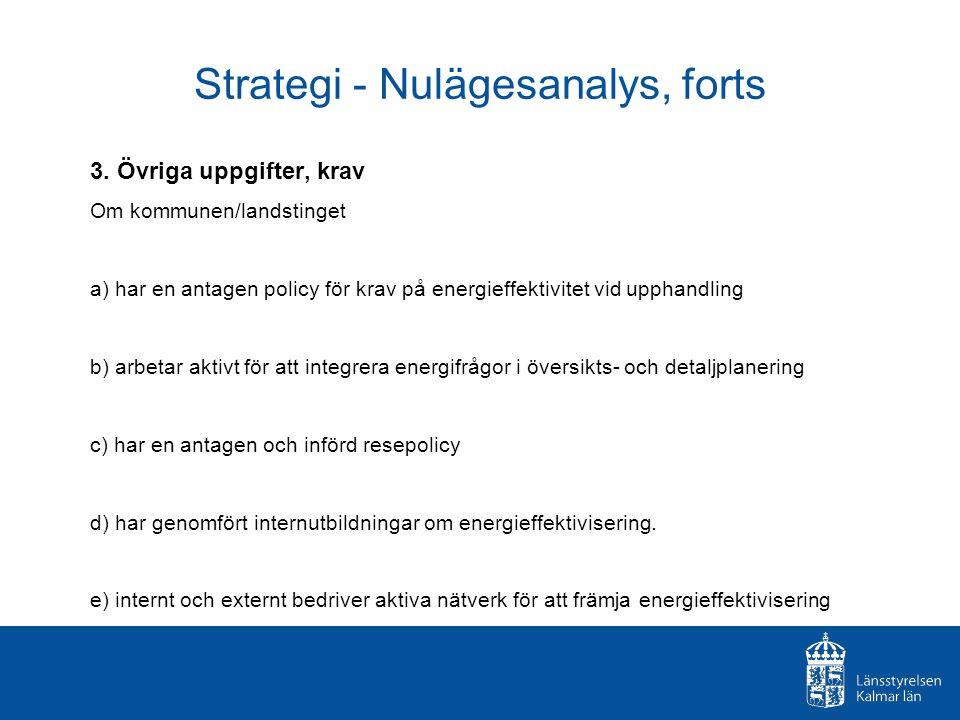 Strategi - Nulägesanalys, forts 3. Övriga uppgifter, krav Om kommunen/landstinget a) har en antagen policy för krav på energieffektivitet vid upphandl