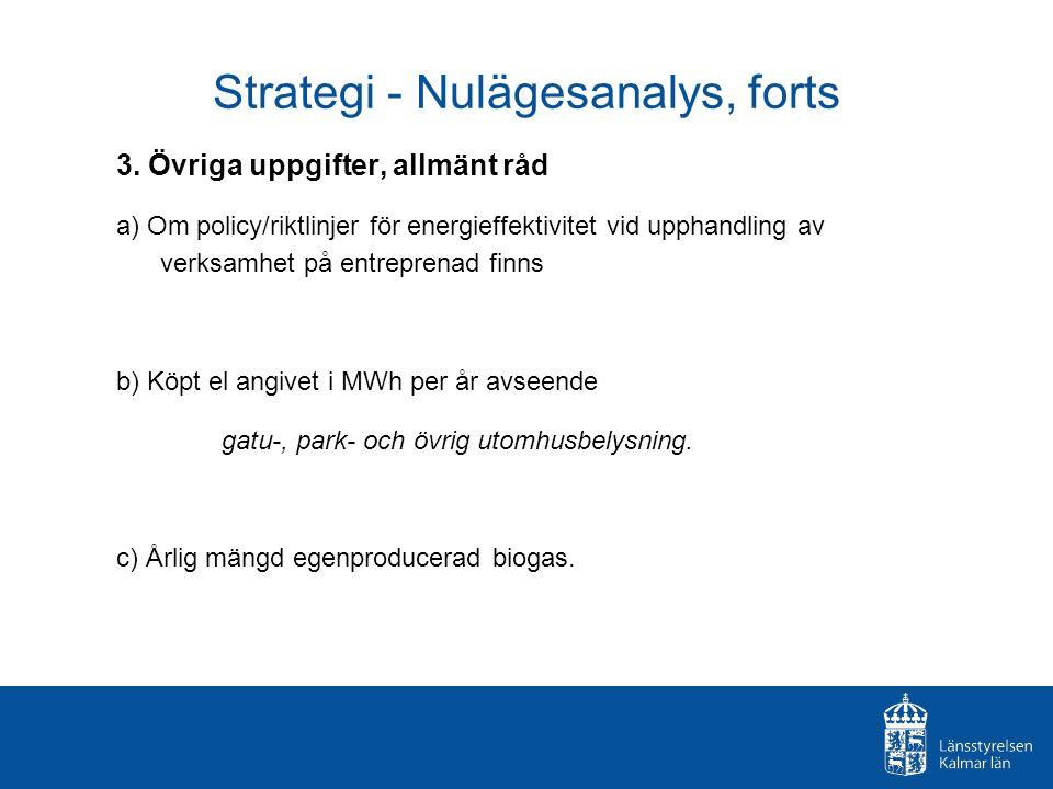 Strategi - Nulägesanalys, forts 3. Övriga uppgifter, allmänt råd a) Om policy/riktlinjer för energieffektivitet vid upphandling av verksamhet på entre