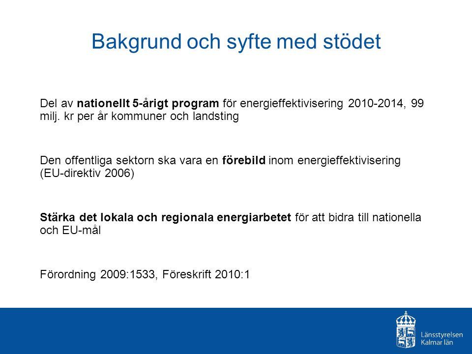 Bakgrund och syfte med stödet Del av nationellt 5-årigt program för energieffektivisering 2010-2014, 99 milj. kr per år kommuner och landsting Den off