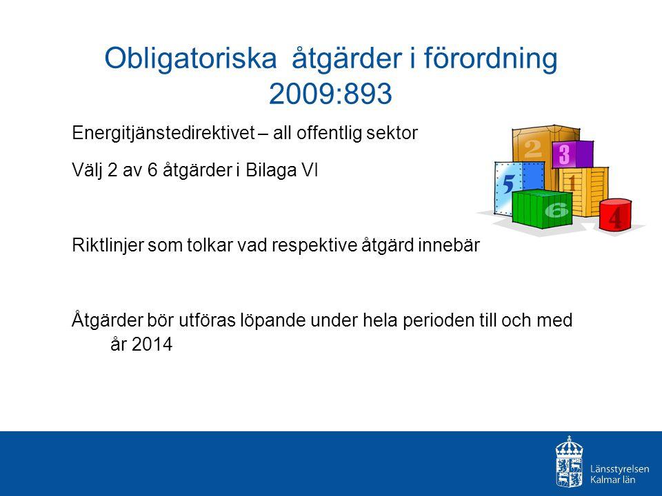 Obligatoriska åtgärder i förordning 2009:893 Energitjänstedirektivet – all offentlig sektor Välj 2 av 6 åtgärder i Bilaga VI Riktlinjer som tolkar vad respektive åtgärd innebär Åtgärder bör utföras löpande under hela perioden till och med år 2014