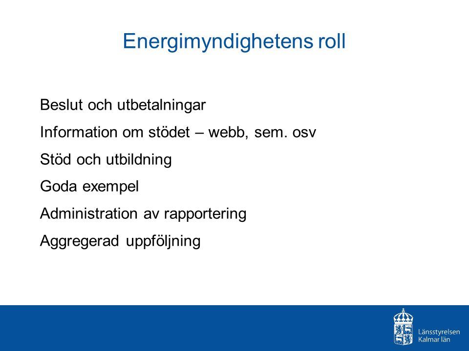 Energimyndighetens roll Beslut och utbetalningar Information om stödet – webb, sem. osv Stöd och utbildning Goda exempel Administration av rapporterin