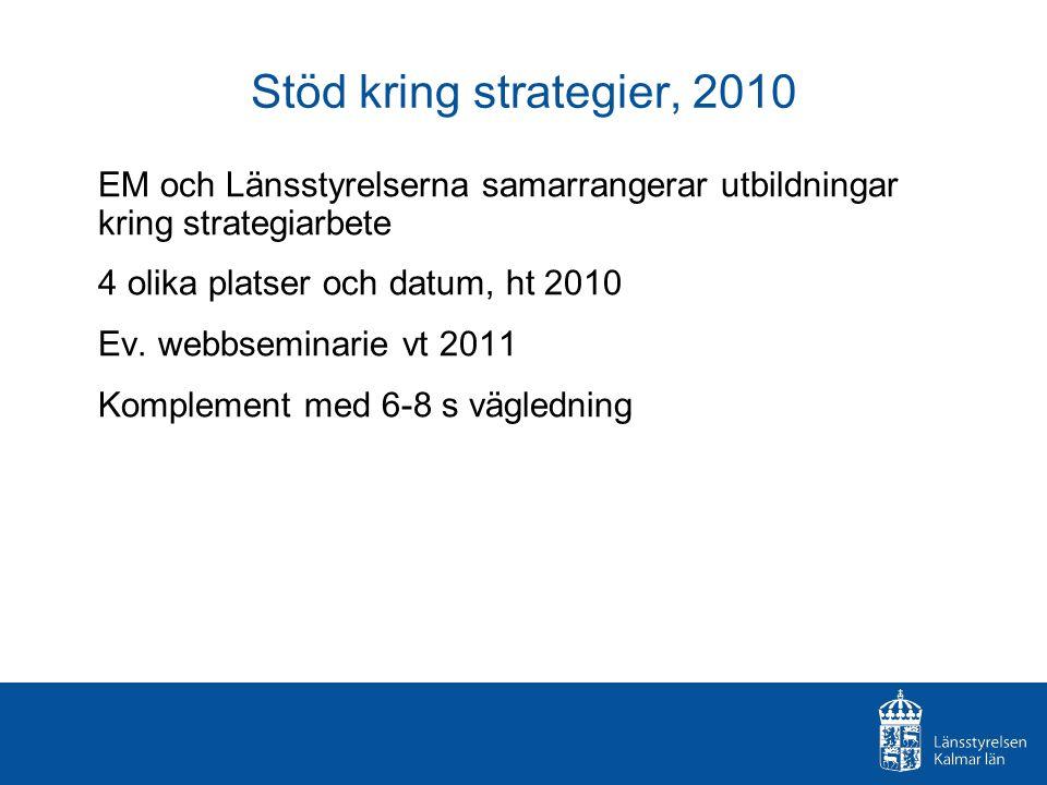 Stöd kring strategier, 2010 EM och Länsstyrelserna samarrangerar utbildningar kring strategiarbete 4 olika platser och datum, ht 2010 Ev.
