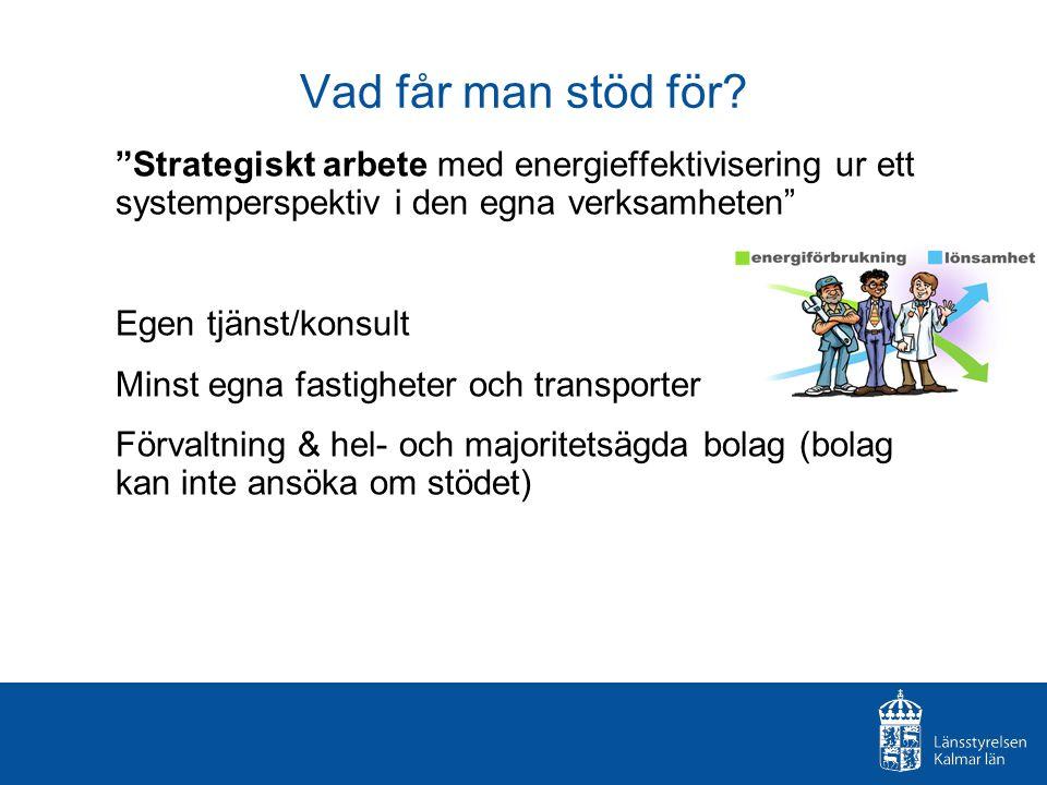 """Vad får man stöd för? """"Strategiskt arbete med energieffektivisering ur ett systemperspektiv i den egna verksamheten"""" Egen tjänst/konsult Minst egna fa"""