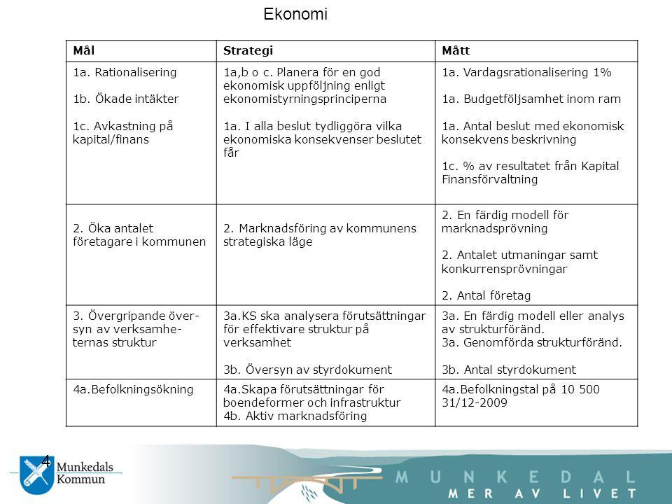 MålStrategiMått 1a. Rationalisering 1b. Ökade intäkter 1c.