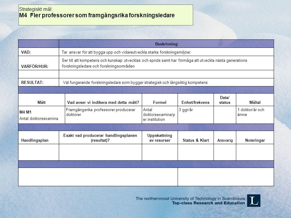 Beskrivning VAD:Tar ansvar för att bygga upp och vidareutveckla starka forskningsmiljöer.