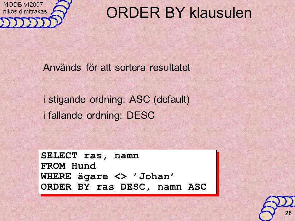 MODB v t2007 nikos dimitrakas 26 ORDER BY klausulen Används för att sortera resultatet i stigande ordning: ASC (default) i fallande ordning: DESC SELECT ras, namn FROM Hund WHERE ägare <> 'Johan' ORDER BY ras DESC, namn ASC