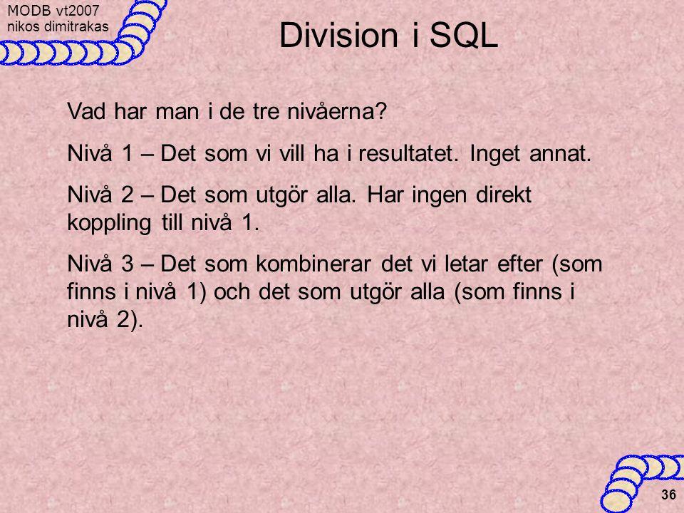 MODB v t2007 nikos dimitrakas 36 Division i SQL Vad har man i de tre nivåerna.