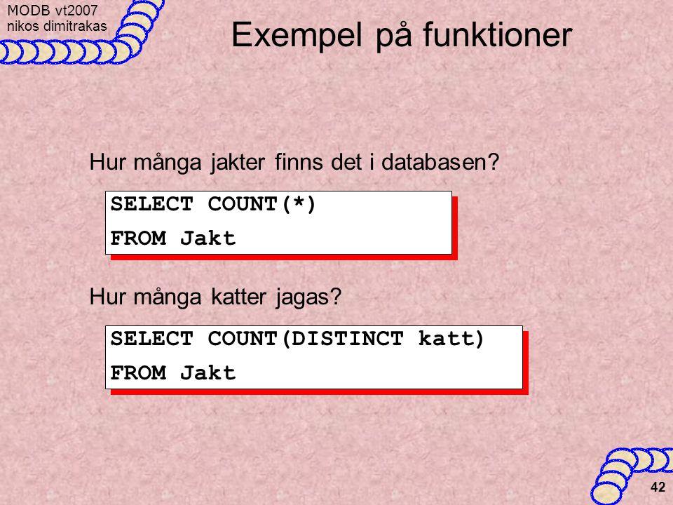 MODB v t2007 nikos dimitrakas 42 Exempel på funktioner Hur många jakter finns det i databasen.