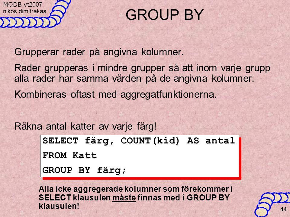 MODB v t2007 nikos dimitrakas 44 GROUP BY Grupperar rader på angivna kolumner.