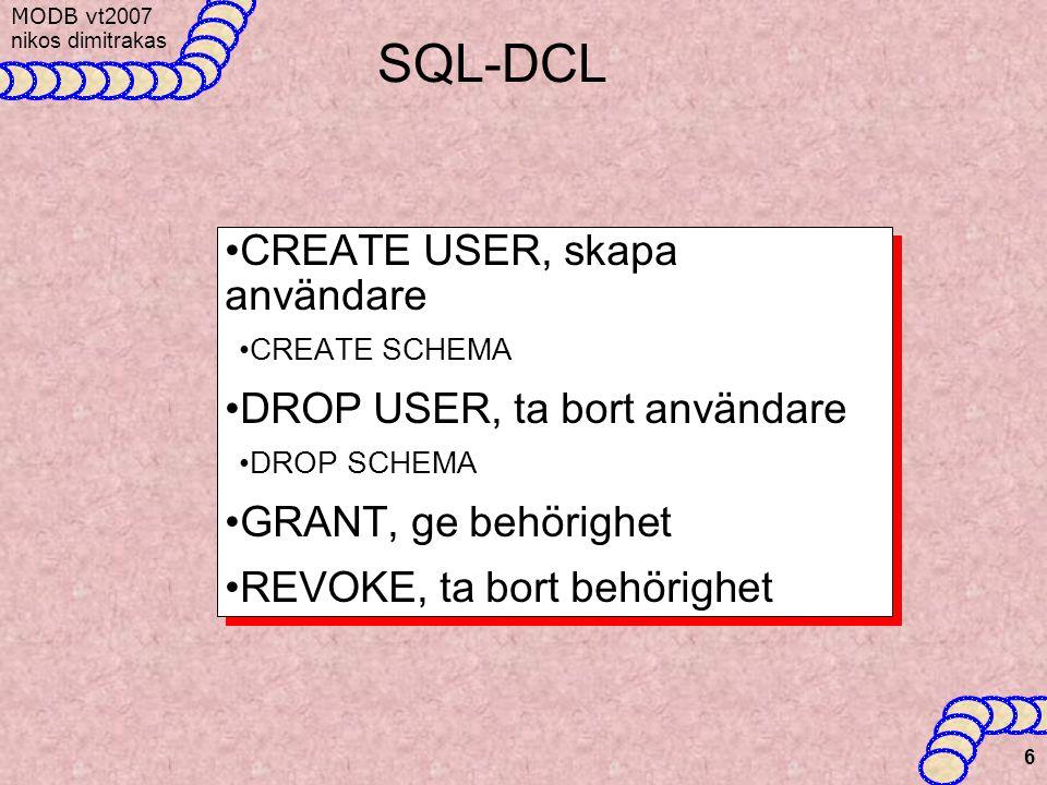 MODB v t2007 nikos dimitrakas 6 SQL-DCL CREATE USER, skapa användare CREATE SCHEMA DROP USER, ta bort användare DROP SCHEMA GRANT, ge behörighet REVOKE, ta bort behörighet CREATE USER, skapa användare CREATE SCHEMA DROP USER, ta bort användare DROP SCHEMA GRANT, ge behörighet REVOKE, ta bort behörighet