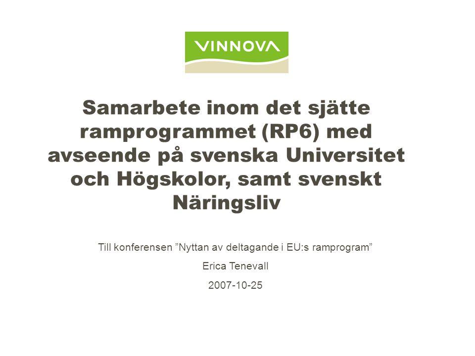Samarbete inom det sjätte ramprogrammet (RP6) med avseende på svenska Universitet och Högskolor, samt svenskt Näringsliv Till konferensen Nyttan av deltagande i EU:s ramprogram Erica Tenevall 2007-10-25
