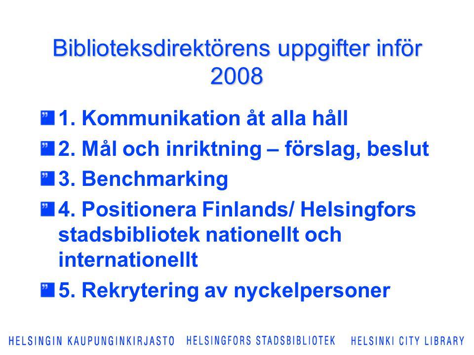 Biblioteksdirektörens uppgifter inför 2008 1. Kommunikation åt alla håll 2. Mål och inriktning – förslag, beslut 3. Benchmarking 4. Positionera Finlan
