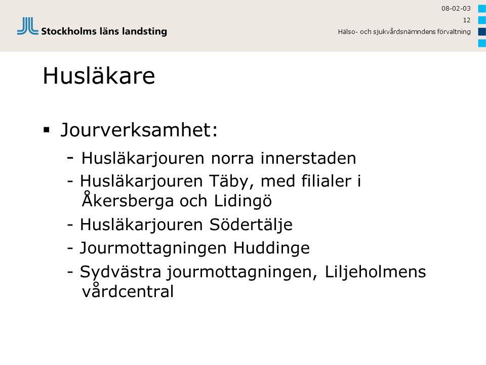 08-02-03 Hälso- och sjukvårdsnämndens förvaltning 12 Husläkare  Jourverksamhet: - Husläkarjouren norra innerstaden - Husläkarjouren Täby, med filiale